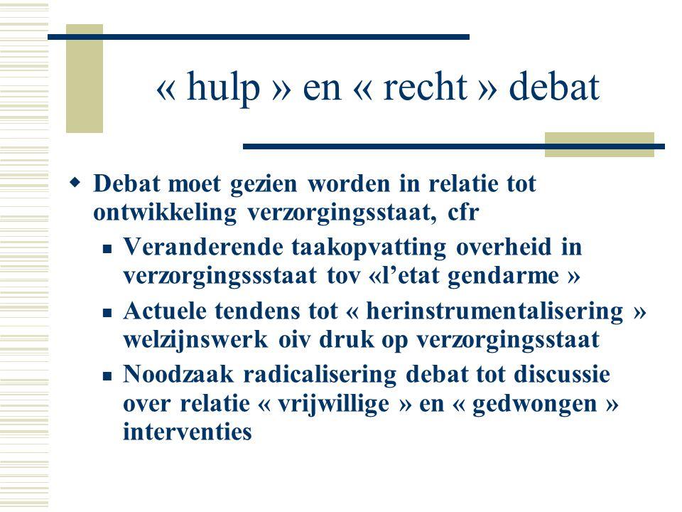 « hulp » en « recht » debat  Debat moet gezien worden in relatie tot ontwikkeling verzorgingsstaat, cfr Veranderende taakopvatting overheid in verzor