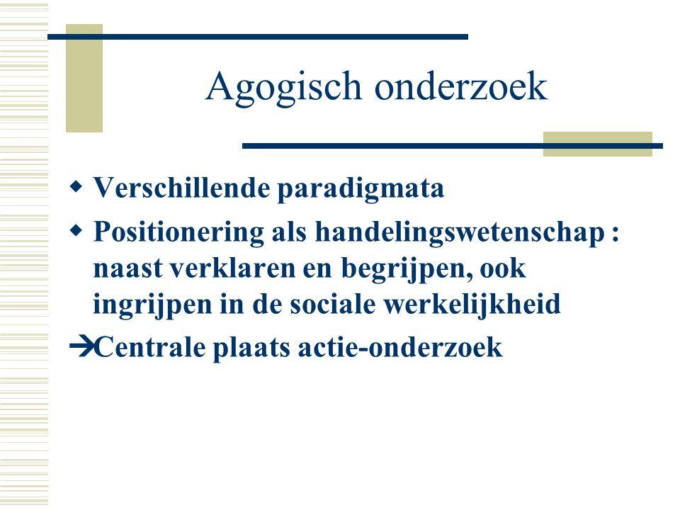 Agogisch onderzoek  Verschillende paradigmata  Positionering als handelingswetenschap : naast verklaren en begrijpen, ook ingrijpen in de sociale we