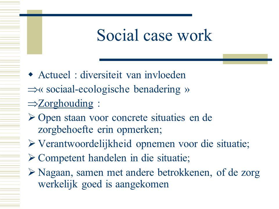 Social case work   voortdurend zoeken naar actuele concretisering basisprincipes  Voorbeelden :  Motiverend interview  Straathoekwerk  Vindplaatsgericht werken  Maatwerk  Trajectbegeleiding  …