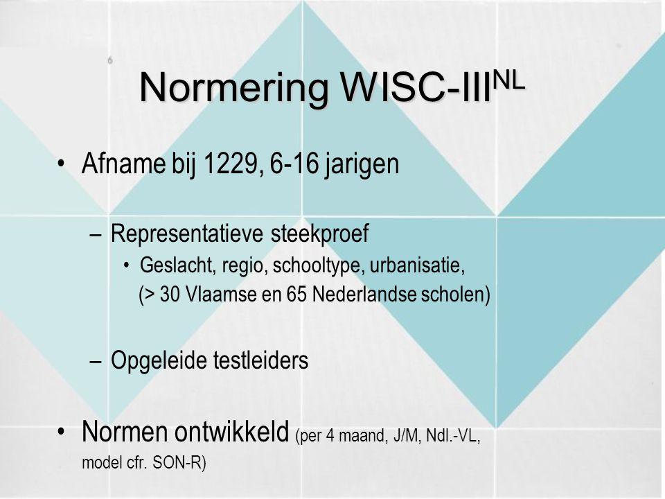 Normering WISC-III NL Afname bij 1229, 6-16 jarigen –Representatieve steekproef Geslacht, regio, schooltype, urbanisatie, (> 30 Vlaamse en 65 Nederlandse scholen) –Opgeleide testleiders Normen ontwikkeld (per 4 maand, J/M, Ndl.-VL, model cfr.