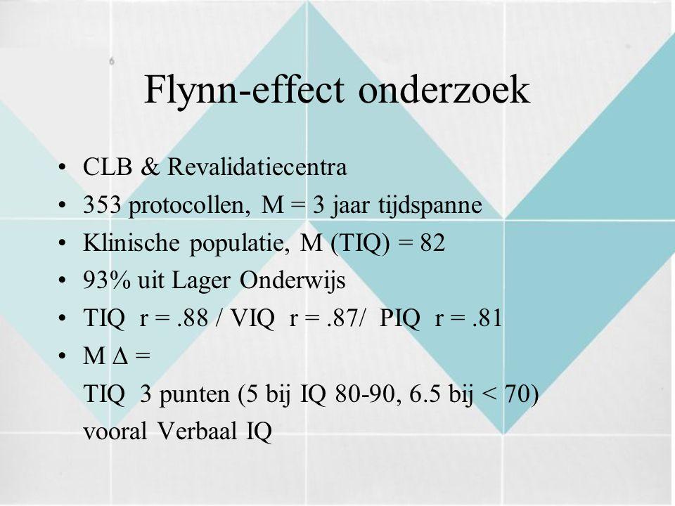 Flynn-effect onderzoek CLB & Revalidatiecentra 353 protocollen, M = 3 jaar tijdspanne Klinische populatie, M (TIQ) = 82 93% uit Lager Onderwijs TIQ r =.88 / VIQ r =.87/ PIQ r =.81 M  = TIQ 3 punten (5 bij IQ 80-90, 6.5 bij < 70) vooral Verbaal IQ