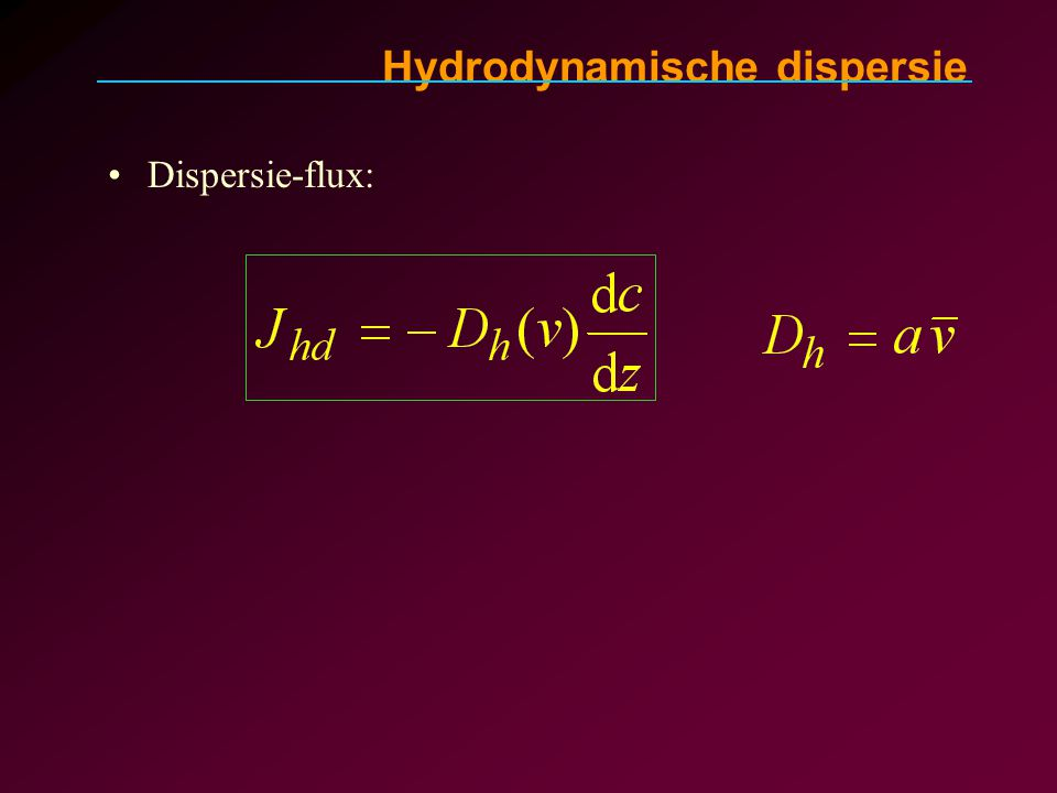 Dispersie-flux: Hydrodynamische dispersie