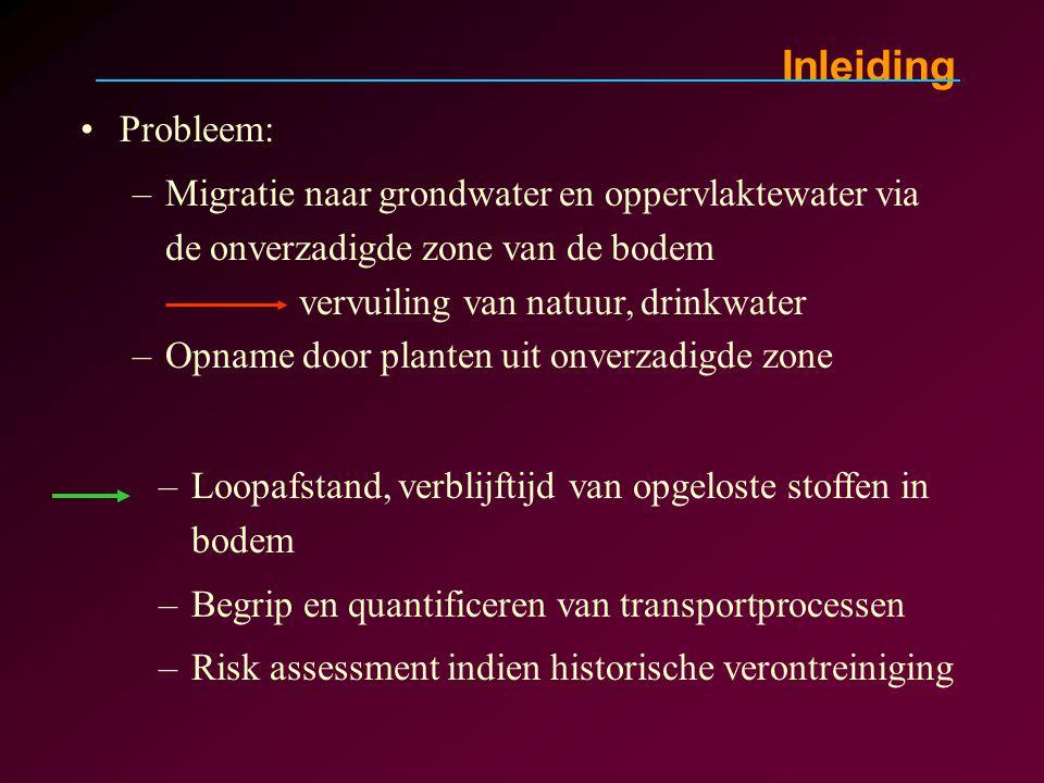 –Loopafstand, verblijftijd van opgeloste stoffen in bodem –Begrip en quantificeren van transportprocessen –Risk assessment indien historische verontre