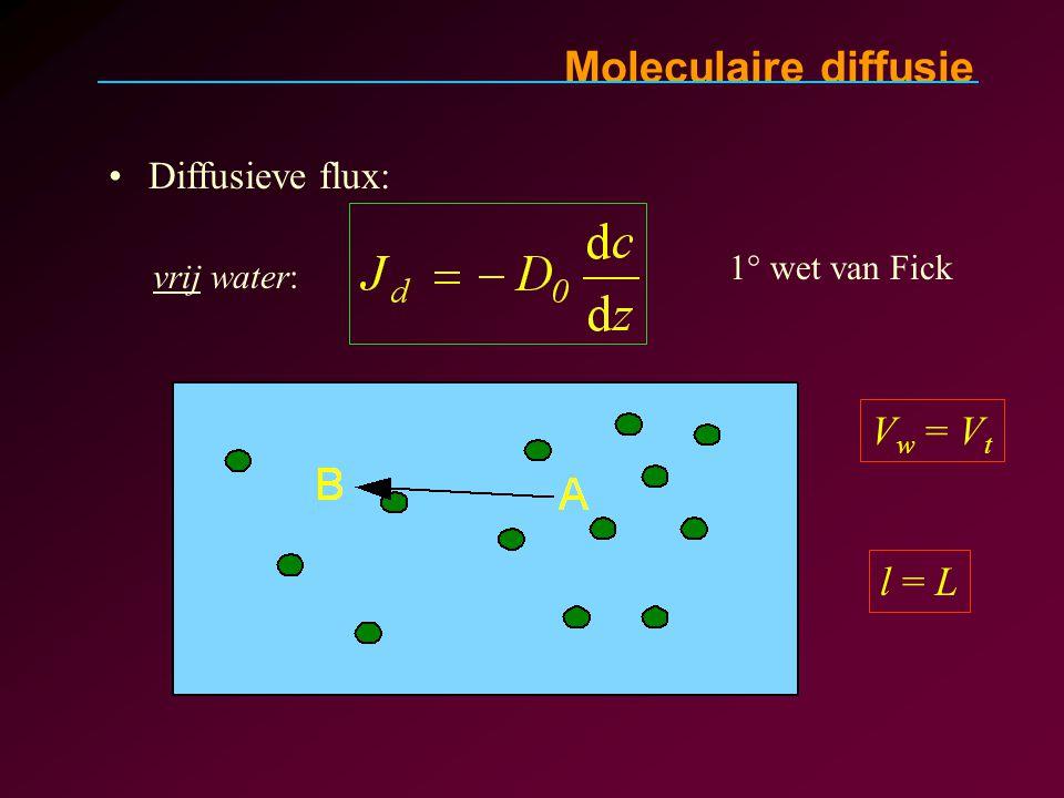 Moleculaire diffusie Diffusieve flux: 1° wet van Fick vrij water: V w = V t l = L