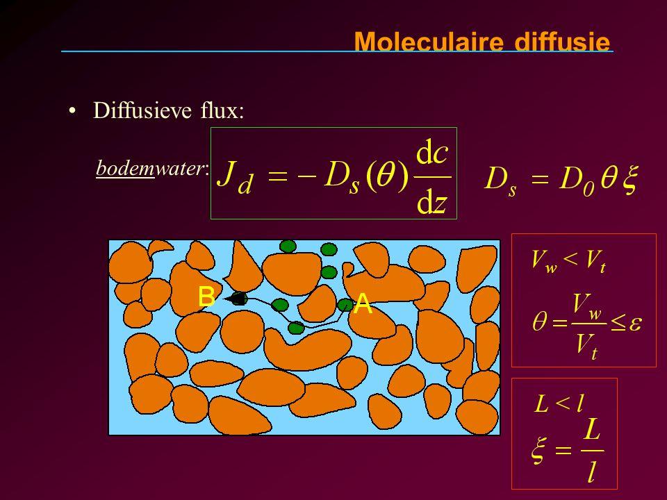 Moleculaire diffusie Diffusieve flux: bodemwater: V w < V t L < l