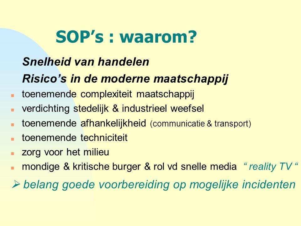 SOP's : waarom? Snelheid van handelen Risico's in de moderne maatschappij n toenemende complexiteit maatschappij n verdichting stedelijk & industrieel