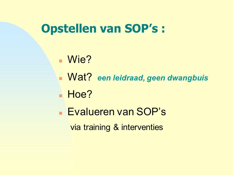 Opstellen van SOP's : n Wie? n Wat? een leidraad, geen dwangbuis n Hoe? n Evalueren van SOP's via training & interventies
