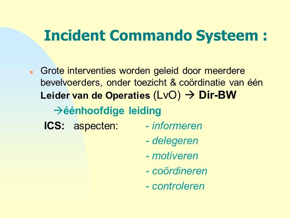 Incident Commando Systeem : n Grote interventies worden geleid door meerdere bevelvoerders, onder toezicht & coördinatie van één Leider van de Operati