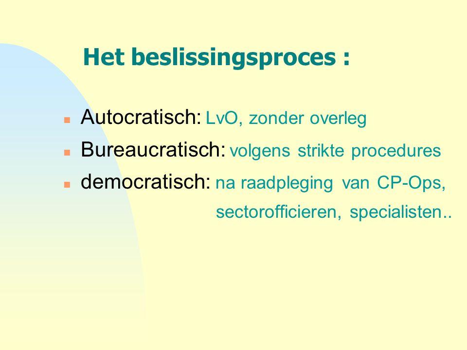 Het beslissingsproces : n Autocratisch: LvO, zonder overleg n Bureaucratisch: volgens strikte procedures n democratisch: na raadpleging van CP-Ops, se