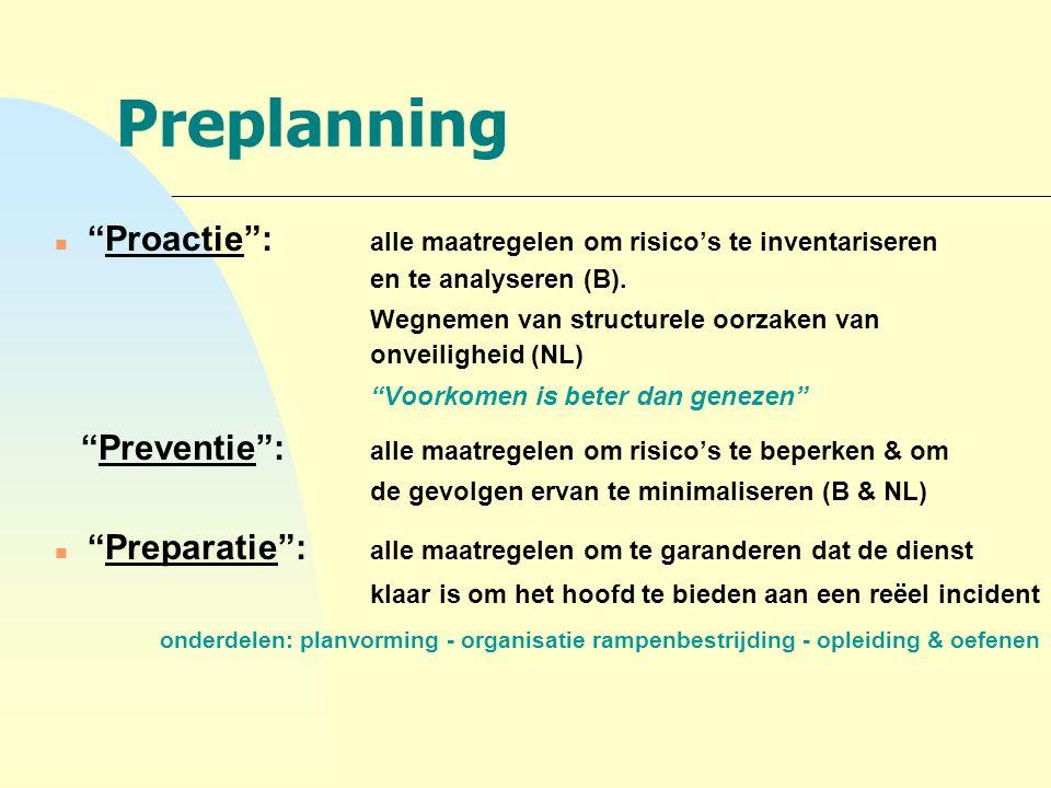 """Preplanning n """"Proactie"""": alle maatregelen om risico's te inventariseren en te analyseren (B). Wegnemen van structurele oorzaken van onveiligheid (NL)"""