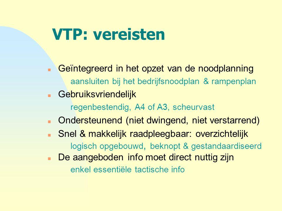 VTP: vereisten n Geïntegreerd in het opzet van de noodplanning aansluiten bij het bedrijfsnoodplan & rampenplan n Gebruiksvriendelijk regenbestendig,
