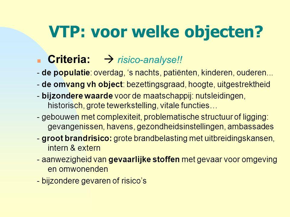 VTP: voor welke objecten? n Criteria:  risico-analyse!! - de populatie: overdag, 's nachts, patiënten, kinderen, ouderen... - de omvang vh object: be