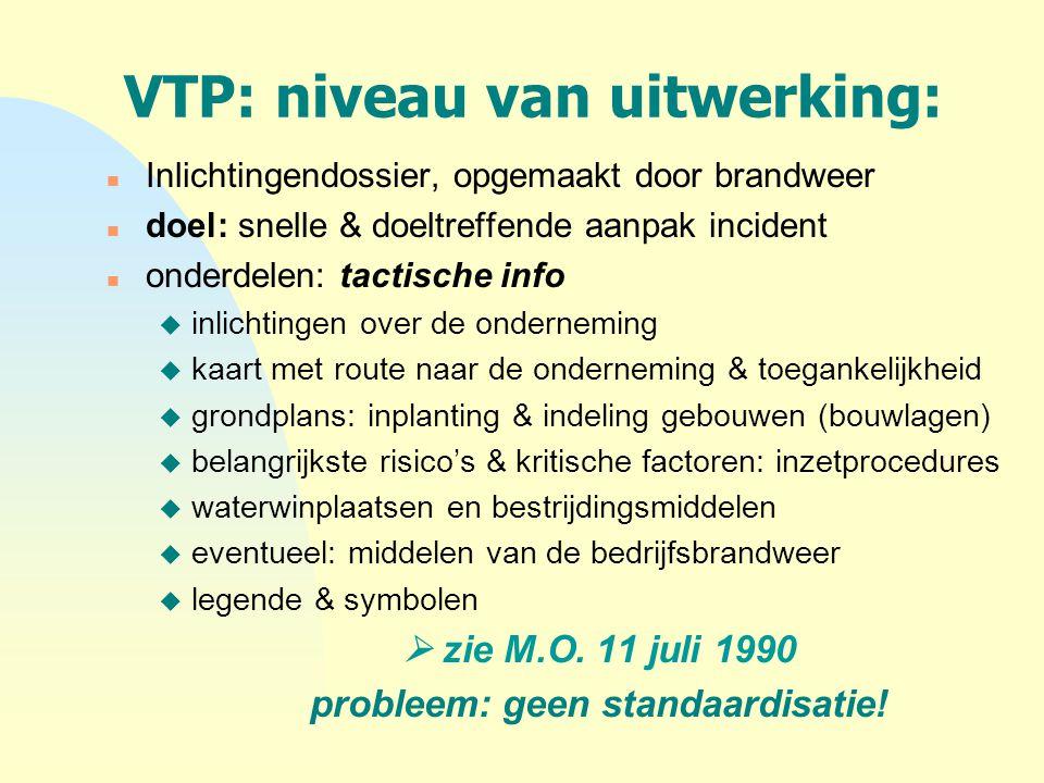 VTP: niveau van uitwerking: n Inlichtingendossier, opgemaakt door brandweer n doel: snelle & doeltreffende aanpak incident n onderdelen: tactische inf