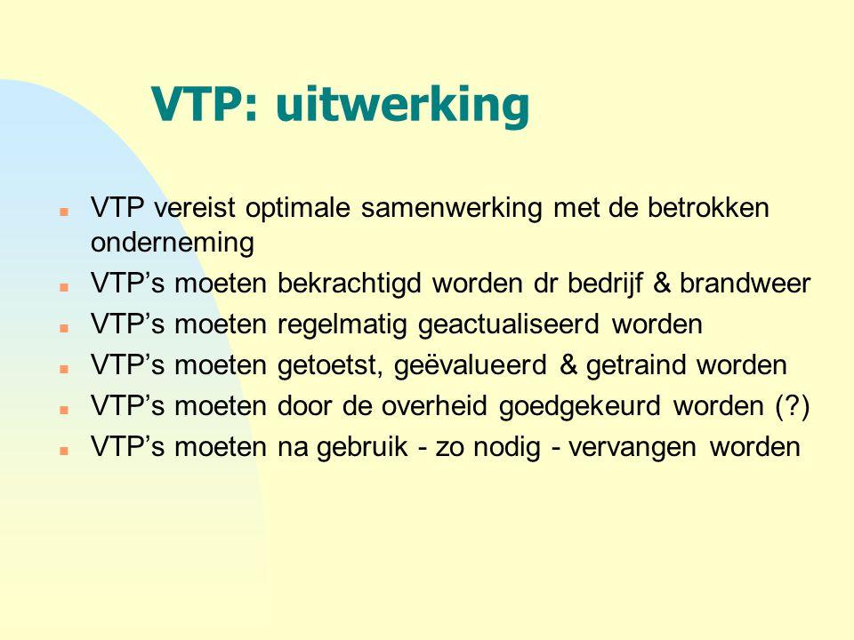 VTP: uitwerking n VTP vereist optimale samenwerking met de betrokken onderneming n VTP's moeten bekrachtigd worden dr bedrijf & brandweer n VTP's moet