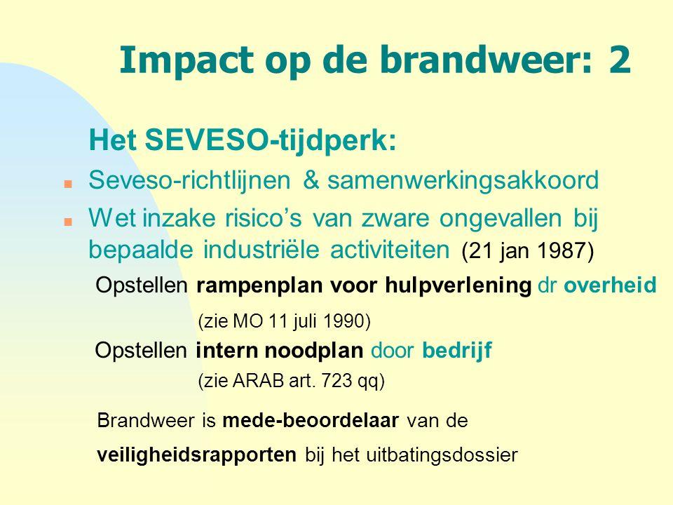 Impact op de brandweer: 2 Het SEVESO-tijdperk: n Seveso-richtlijnen & samenwerkingsakkoord n Wet inzake risico's van zware ongevallen bij bepaalde ind