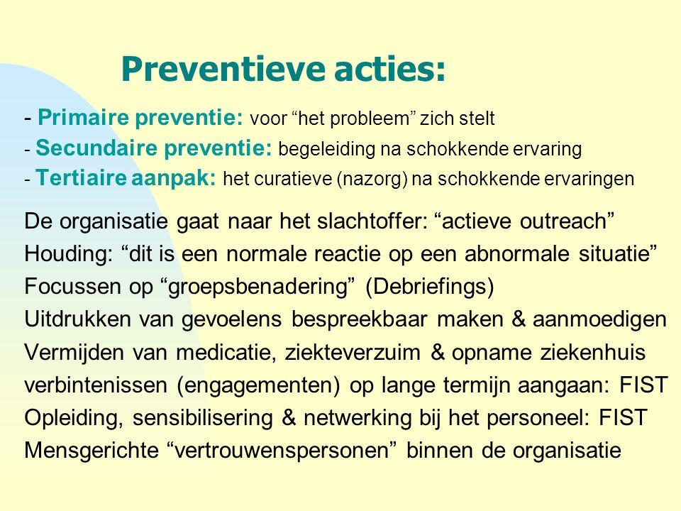 """Preventieve acties: - Primaire preventie: voor """"het probleem"""" zich stelt - Secundaire preventie: begeleiding na schokkende ervaring - Tertiaire aanpak"""