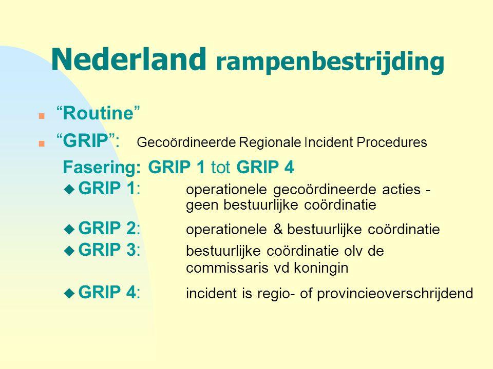 """Nederland rampenbestrijding n """"Routine"""" n """"GRIP"""": Gecoördineerde Regionale Incident Procedures Fasering: GRIP 1 tot GRIP 4 u GRIP 1: operationele geco"""