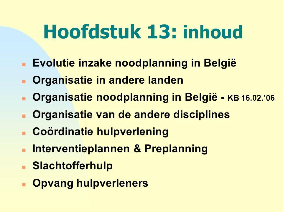 Hoofdstuk 13: inhoud n Evolutie inzake noodplanning in België n Organisatie in andere landen n Organisatie noodplanning in België - KB 16.02.'06 n Org