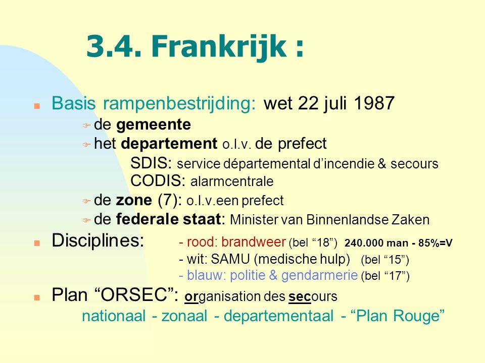 3.4. Frankrijk : n Basis rampenbestrijding: wet 22 juli 1987 F de gemeente F het departement o.l.v. de prefect SDIS: service départemental d'incendie