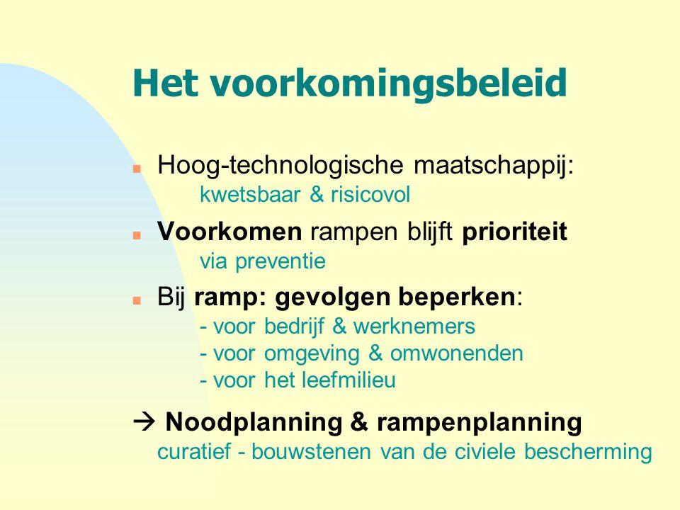 Het voorkomingsbeleid n Hoog-technologische maatschappij: kwetsbaar & risicovol n Voorkomen rampen blijft prioriteit via preventie n Bij ramp: gevolge