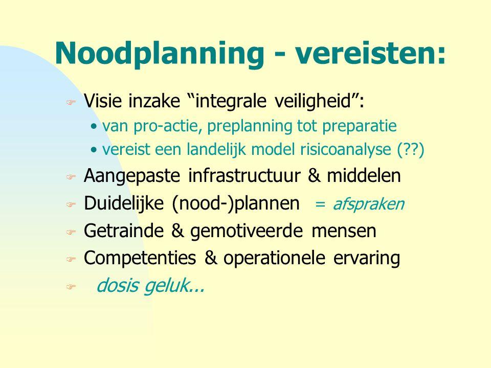 """Noodplanning - vereisten: F Visie inzake """"integrale veiligheid"""": van pro-actie, preplanning tot preparatie vereist een landelijk model risicoanalyse ("""