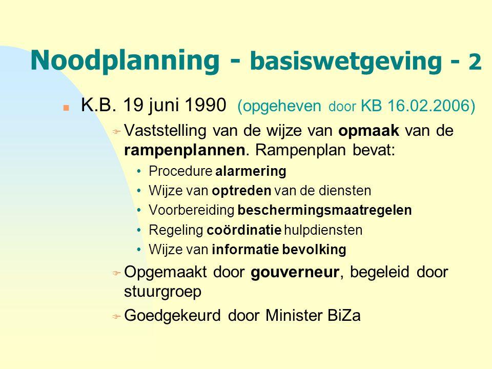 Noodplanning - basiswetgeving - 2 n K.B. 19 juni 1990 (opgeheven door KB 16.02.2006) F Vaststelling van de wijze van opmaak van de rampenplannen. Ramp