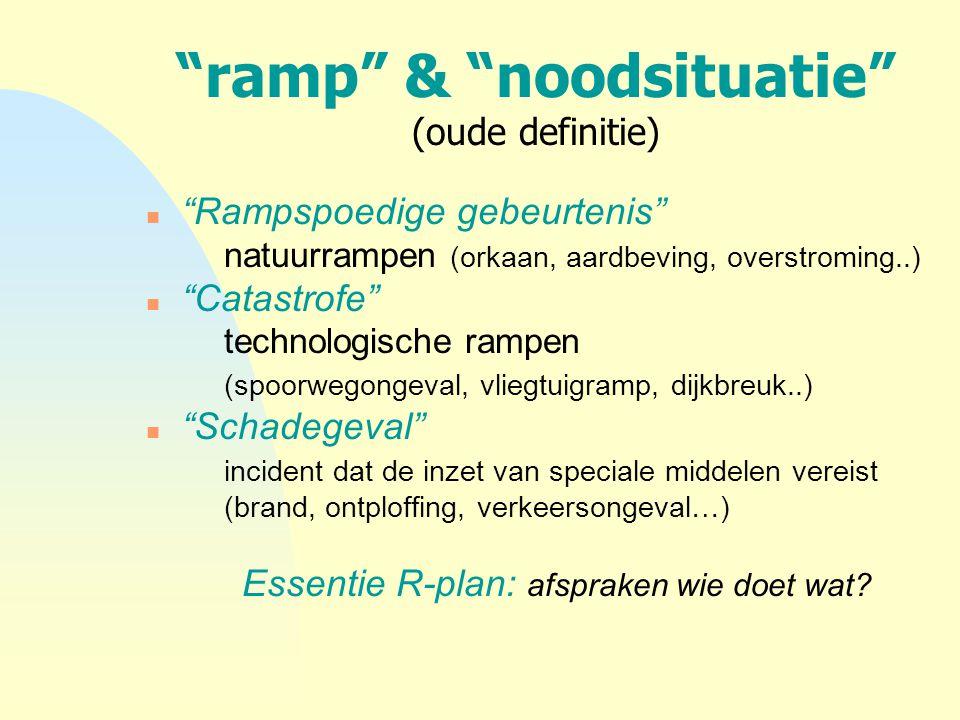 """""""ramp"""" & """"noodsituatie"""" (oude definitie) n """"Rampspoedige gebeurtenis"""" natuurrampen (orkaan, aardbeving, overstroming..) n """"Catastrofe"""" technologische"""