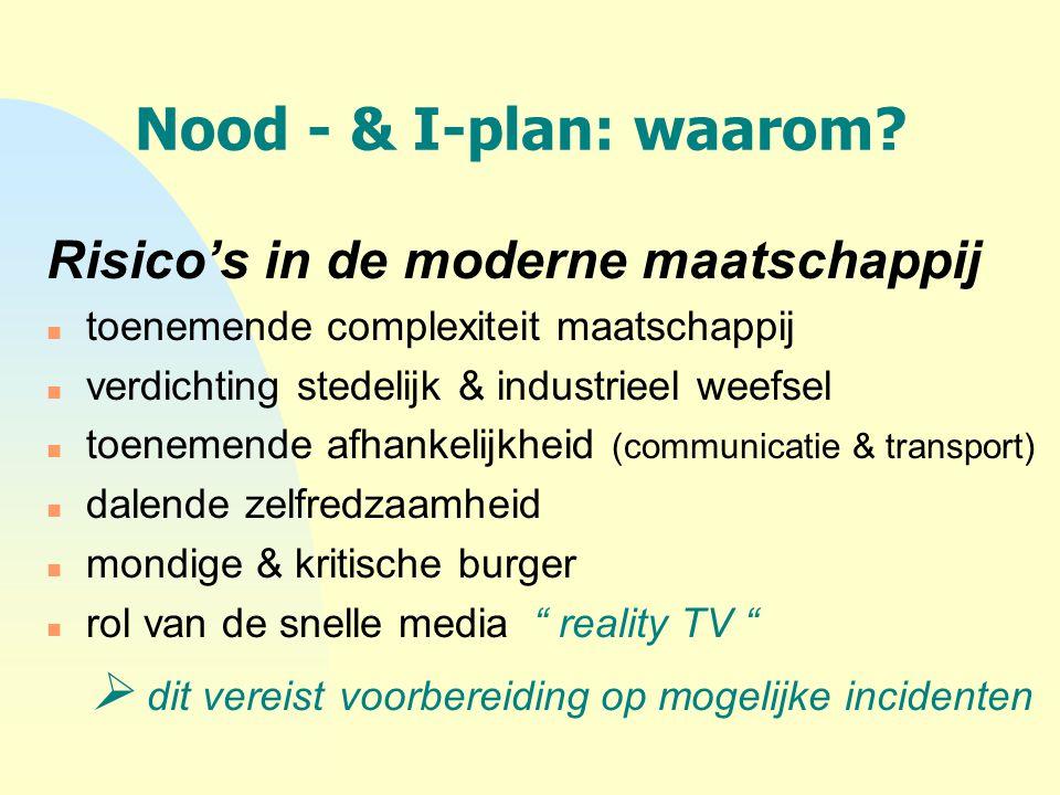 Nood - & I-plan: waarom? Risico's in de moderne maatschappij n toenemende complexiteit maatschappij n verdichting stedelijk & industrieel weefsel n to