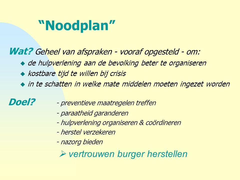 """""""Noodplan"""" Wat? Geheel van afspraken - vooraf opgesteld - om: u de hulpverlening aan de bevolking beter te organiseren u kostbare tijd te willen bij c"""