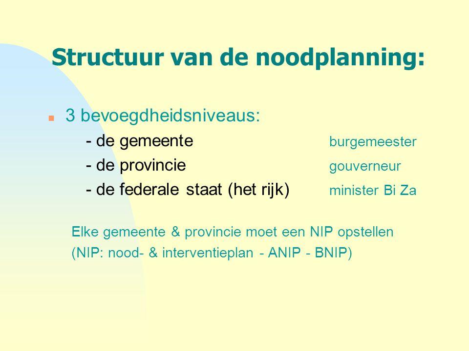 Structuur van de noodplanning: n 3 bevoegdheidsniveaus: - de gemeente burgemeester - de provincie gouverneur - de federale staat (het rijk) minister B