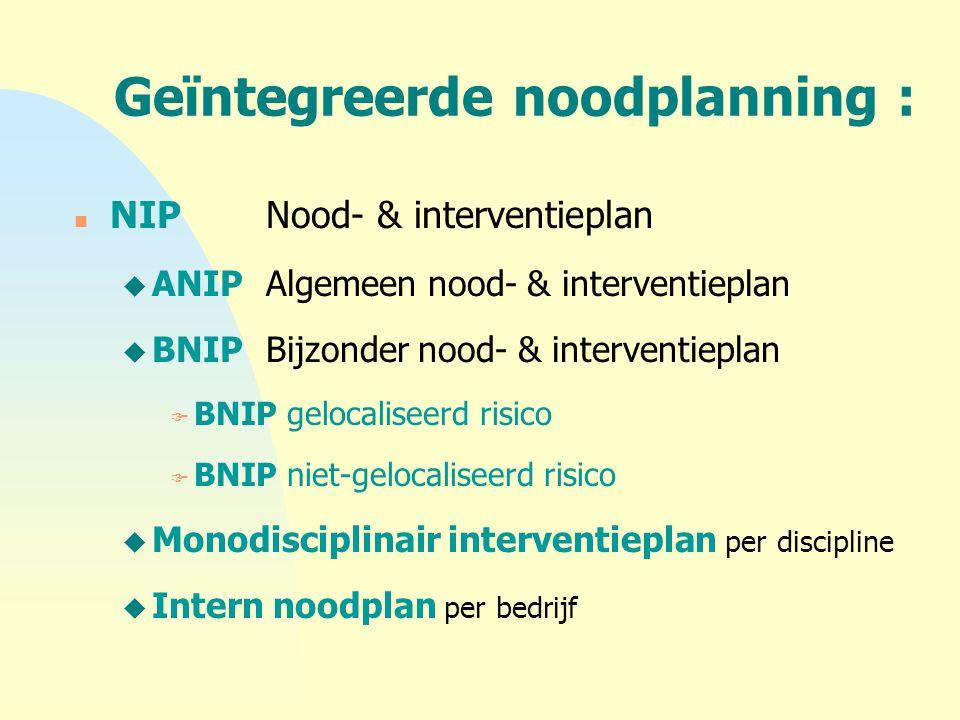 Geïntegreerde noodplanning : n NIPNood- & interventieplan u ANIPAlgemeen nood- & interventieplan u BNIPBijzonder nood- & interventieplan F BNIP geloca