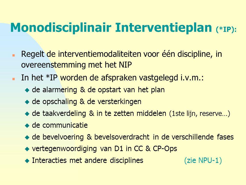 Monodisciplinair Interventieplan (*IP): n Regelt de interventiemodaliteiten voor één discipline, in overeenstemming met het NIP n In het *IP worden de