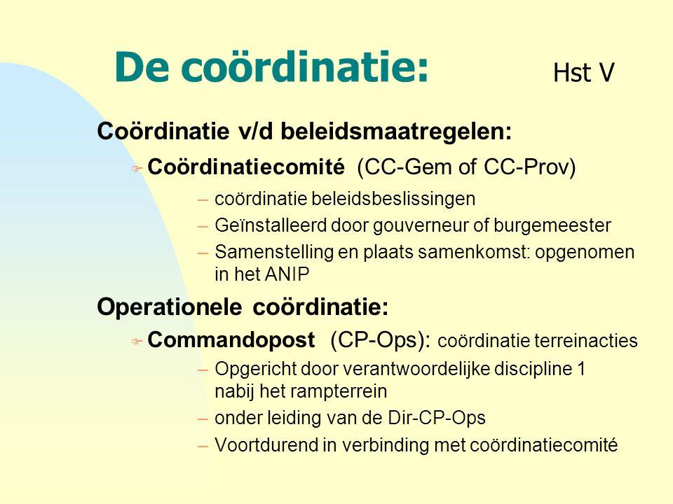 De coördinatie: Hst V Coördinatie v/d beleidsmaatregelen: F Coördinatiecomité (CC-Gem of CC-Prov) –coördinatie beleidsbeslissingen –Geïnstalleerd door