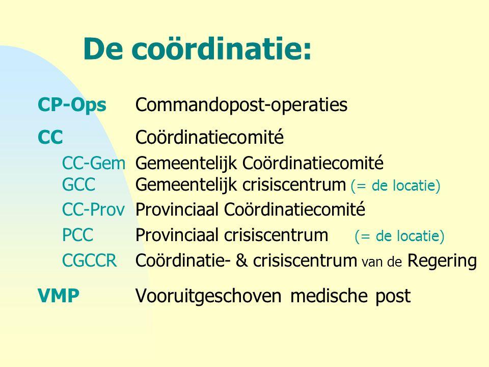 De coördinatie: CP-OpsCommandopost-operaties CCCoördinatiecomité CC-GemGemeentelijk Coördinatiecomité GCCGemeentelijk crisiscentrum (= de locatie) CC-