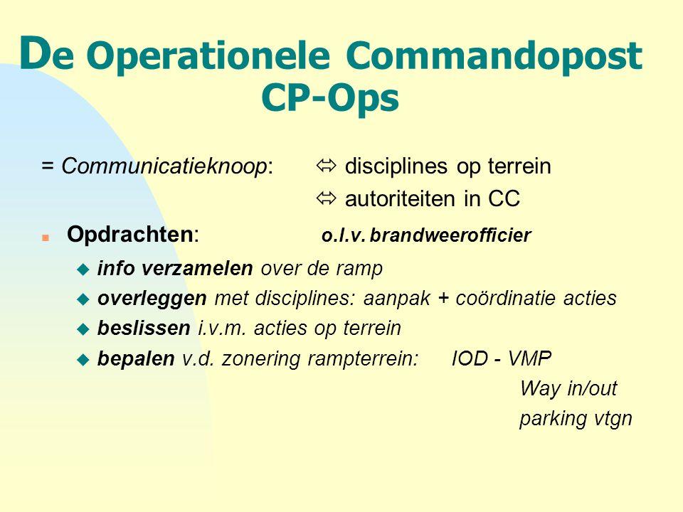 D e Operationele Commandopost CP-Ops = Communicatieknoop:  disciplines op terrein  autoriteiten in CC n Opdrachten: o.l.v. brandweerofficier u info
