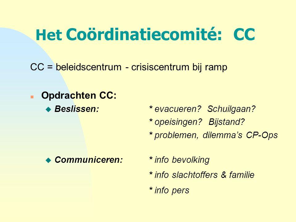 Het Coördinatiecomité: CC CC = beleidscentrum - crisiscentrum bij ramp n Opdrachten CC: u Beslissen:* evacueren? Schuilgaan? * opeisingen? Bijstand? *