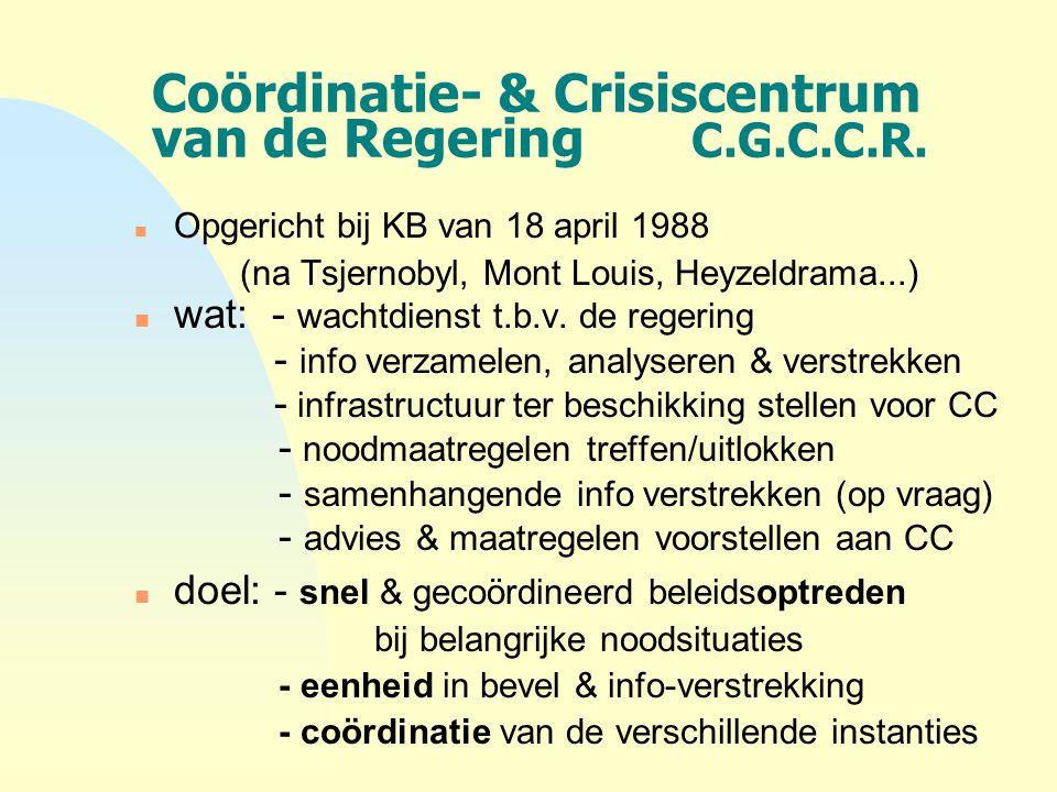 Coördinatie- & Crisiscentrum van de Regering C.G.C.C.R. n Opgericht bij KB van 18 april 1988 (na Tsjernobyl, Mont Louis, Heyzeldrama...) n wat: - wach