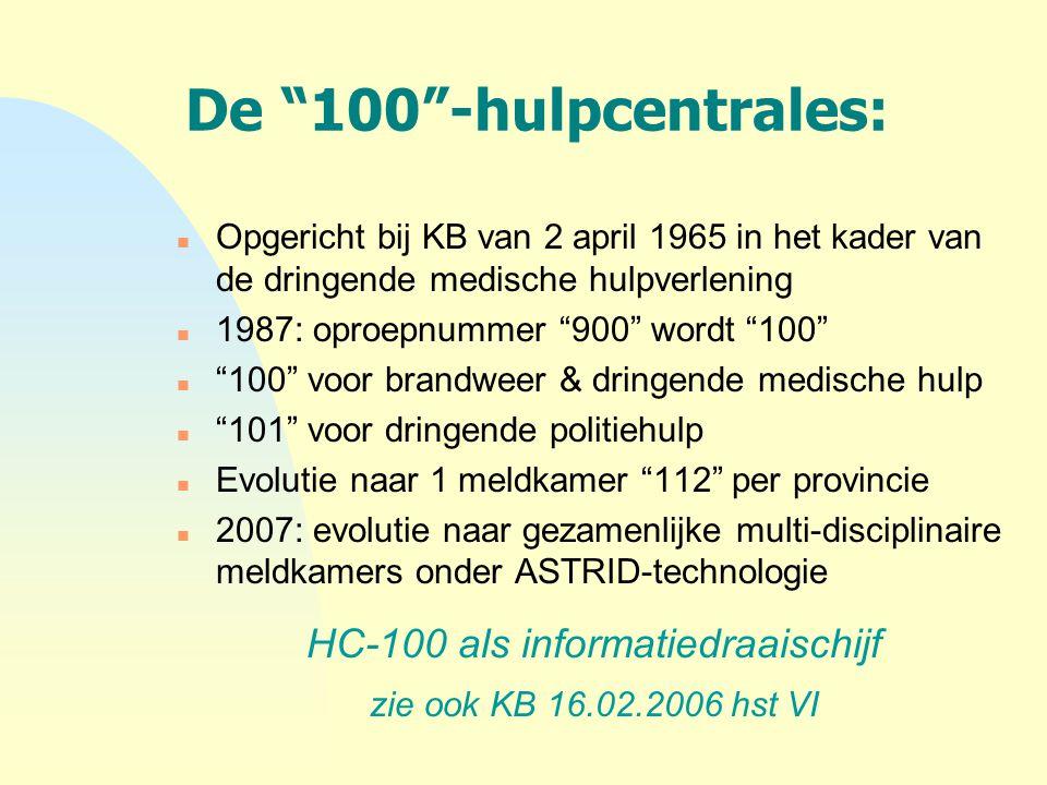 """De """"100""""-hulpcentrales: n Opgericht bij KB van 2 april 1965 in het kader van de dringende medische hulpverlening n 1987: oproepnummer """"900"""" wordt """"100"""