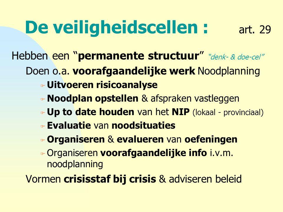 """De veiligheidscellen : art. 29 Hebben een """"permanente structuur"""" """"denk- & doe-cel"""" Doen o.a. voorafgaandelijke werk Noodplanning F Uitvoeren risicoana"""