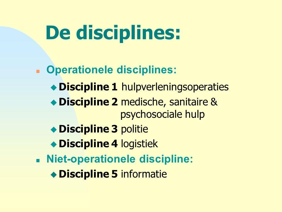 De disciplines: n Operationele disciplines: u Discipline 1 hulpverleningsoperaties u Discipline 2 medische, sanitaire & psychosociale hulp u Disciplin