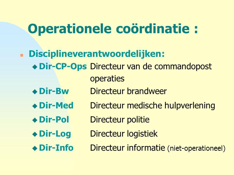 Operationele coördinatie : n Disciplineverantwoordelijken: u Dir-CP-OpsDirecteur van de commandopost operaties u Dir-BwDirecteur brandweer u Dir-MedDi