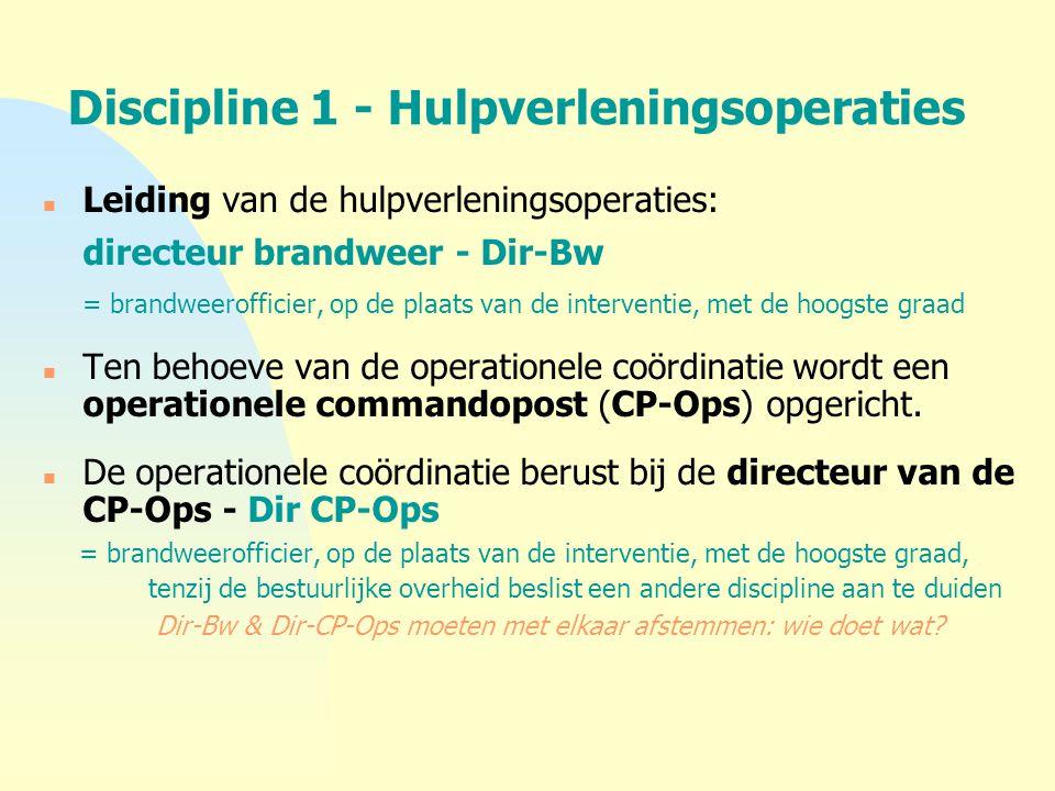 Discipline 1 - Hulpverleningsoperaties n Leiding van de hulpverleningsoperaties: directeur brandweer - Dir-Bw = brandweerofficier, op de plaats van de