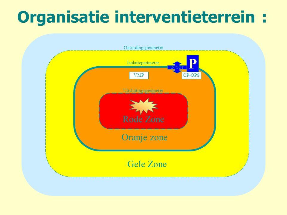 Organisatie interventieterrein : Gele Zone Oranje zone Rode Zone Uitsluitingsperimeter Isolatieperimeter Ontradingsperimeter IN/OUT CP-OPSVMP P
