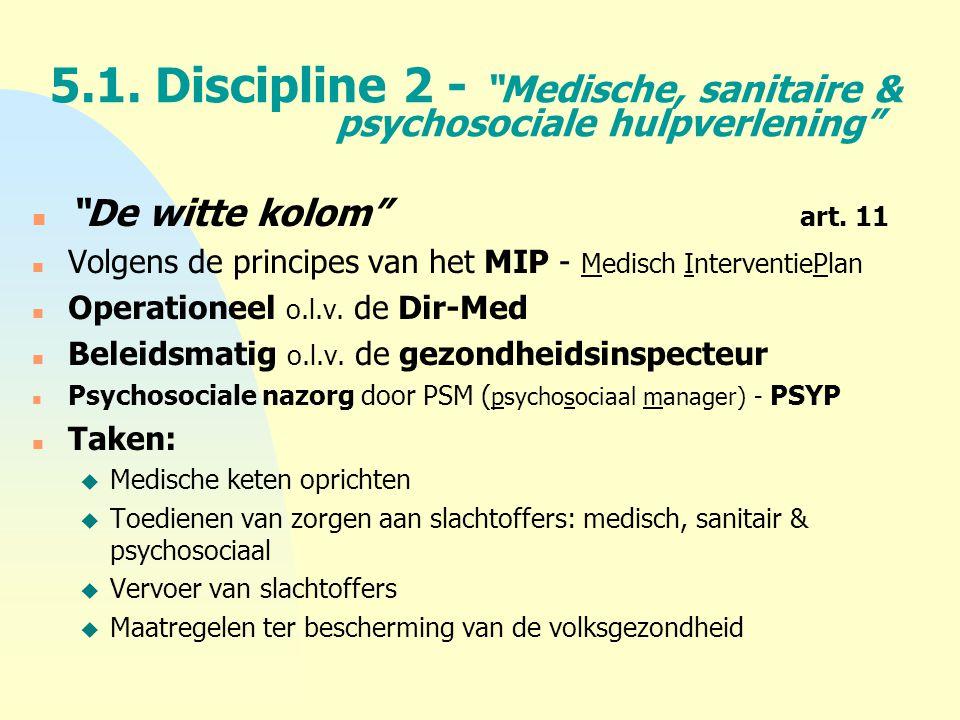 """5.1. Discipline 2 - """"Medische, sanitaire & psychosociale hulpverlening"""" n """"De witte kolom"""" art. 11 n Volgens de principes van het MIP - Medisch Interv"""