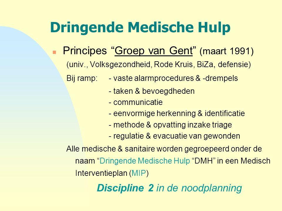 """Dringende Medische Hulp n Principes """"Groep van Gent"""" (maart 1991) (univ., Volksgezondheid, Rode Kruis, BiZa, defensie) Bij ramp:- vaste alarmprocedure"""