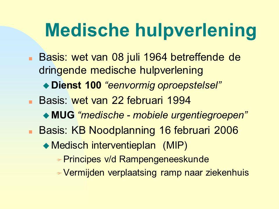 """Medische hulpverlening n Basis: wet van 08 juli 1964 betreffende de dringende medische hulpverlening u Dienst 100 """"eenvormig oproepstelsel"""" n Basis: w"""