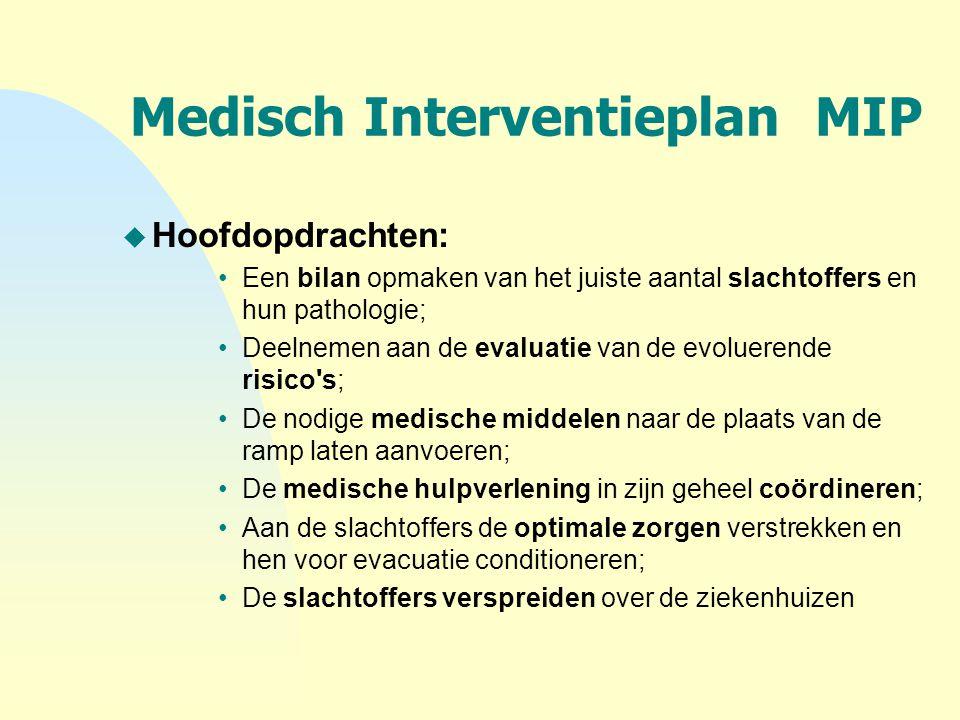 Medisch Interventieplan MIP u Hoofdopdrachten: Een bilan opmaken van het juiste aantal slachtoffers en hun pathologie; Deelnemen aan de evaluatie van