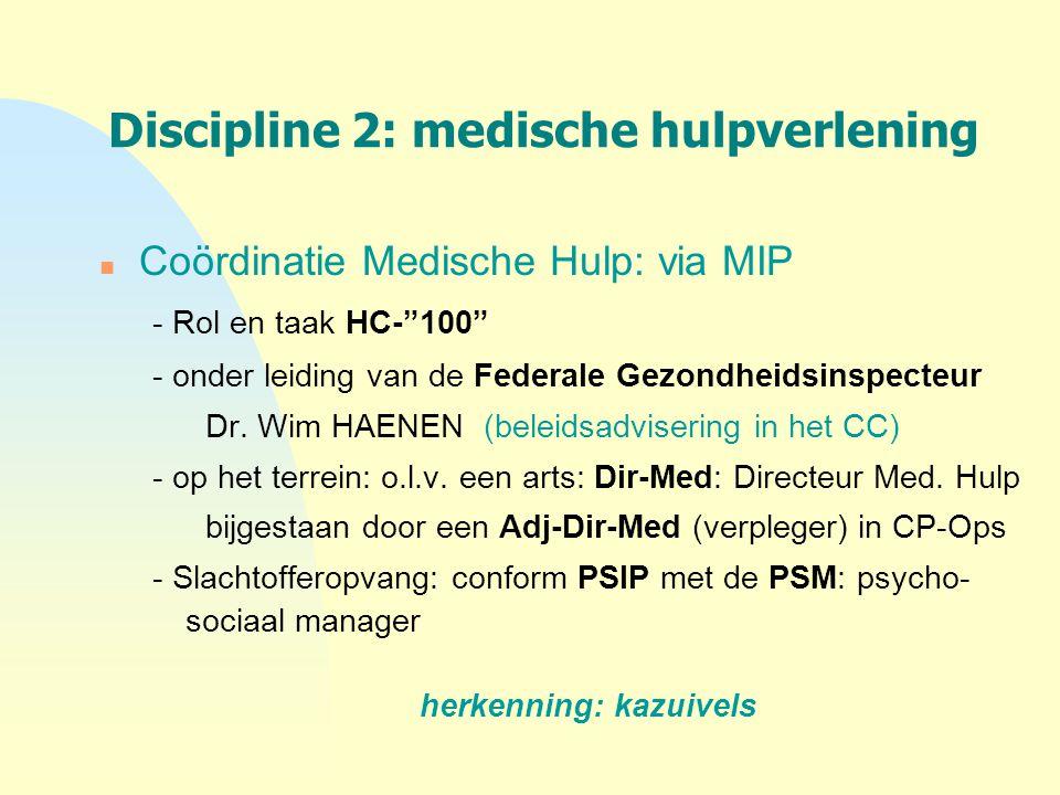 """Discipline 2: medische hulpverlening n Coördinatie Medische Hulp: via MIP - Rol en taak HC-""""100"""" - onder leiding van de Federale Gezondheidsinspecteur"""