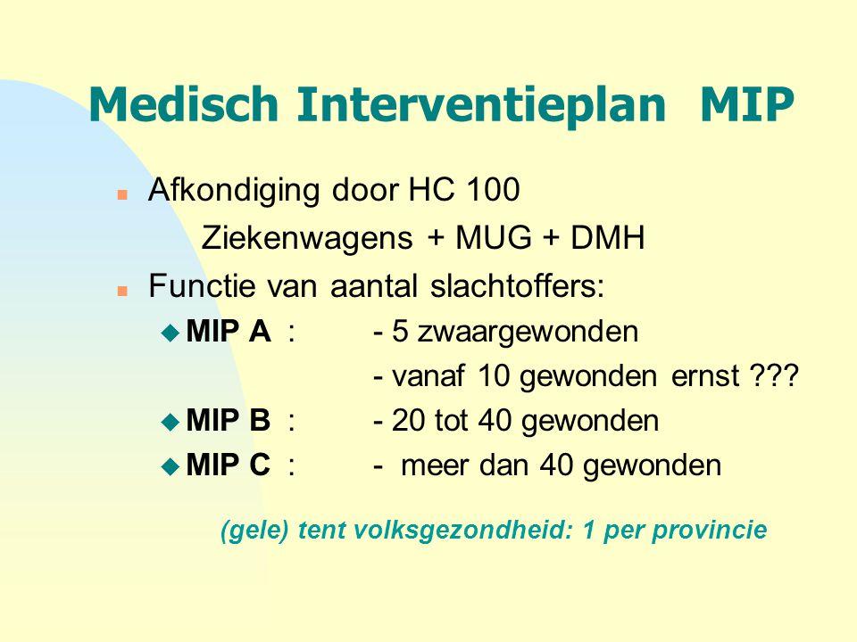 Medisch Interventieplan MIP n Afkondiging door HC 100 Ziekenwagens + MUG + DMH n Functie van aantal slachtoffers: u MIP A: - 5 zwaargewonden - vanaf 1