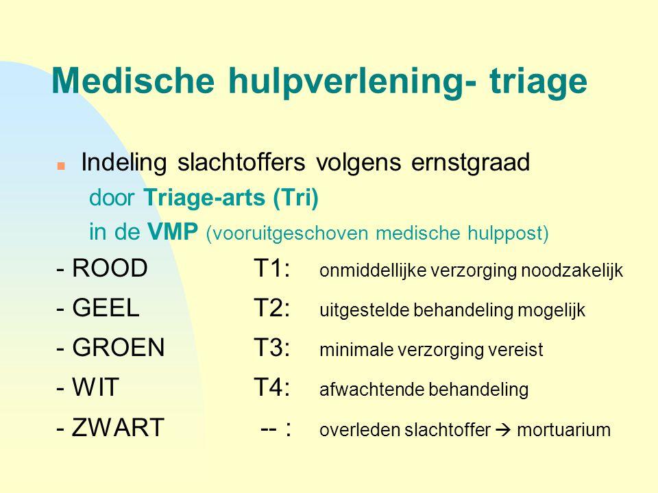 Medische hulpverlening- triage n Indeling slachtoffers volgens ernstgraad door Triage-arts (Tri) in de VMP (vooruitgeschoven medische hulppost) - ROOD